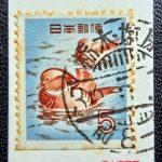 オシドリ5円切手帳ペーン櫛型印
